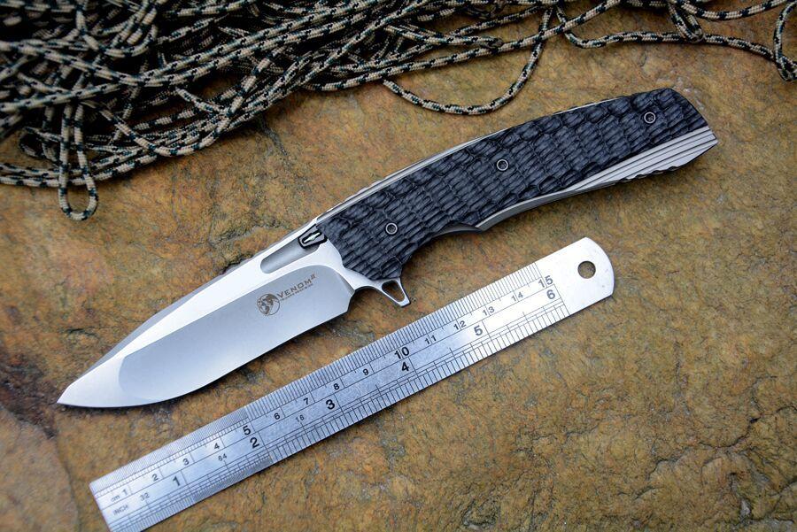 Kevin John Messer VENOM II M390 Klinge kugellager Flipper Klappmesser Titan griff Jagd Überleben messer Außenzahnräder