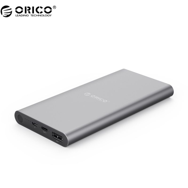 ORICO T1 Mobile Power 10000mAh Type-C High Capacity Universal Portable Fast Charging for Your Phone and Other Devices - Gray
