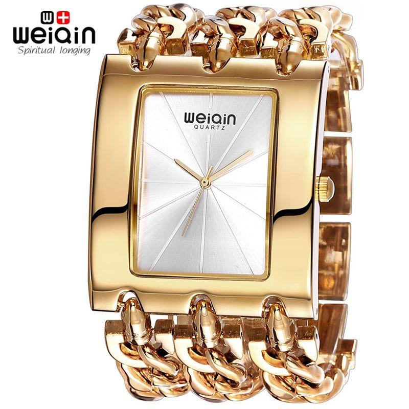 Weiqin marca de lujo oro Relojes de mujer señora impermeable moda brazalete vestido reloj mujer reloj Relogio feminino