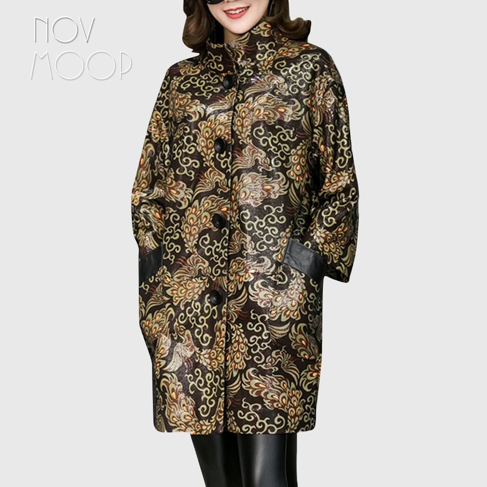Fashion printed black genuine leather trench coat drop-shoulder real lambskin leather coat outwear plus size casacos LT1873