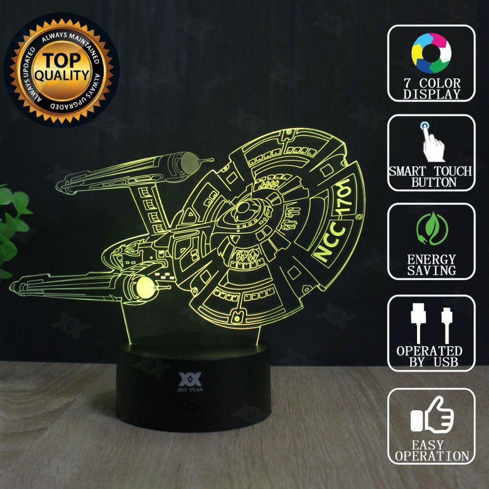 Star Wars Lampe Faucon Millenium Star Trek 3D Lampe LED Nouveauté Nuit Lumières USB Lumière Rougeoyante Enfants Cadeau de HUI YUANS Marque