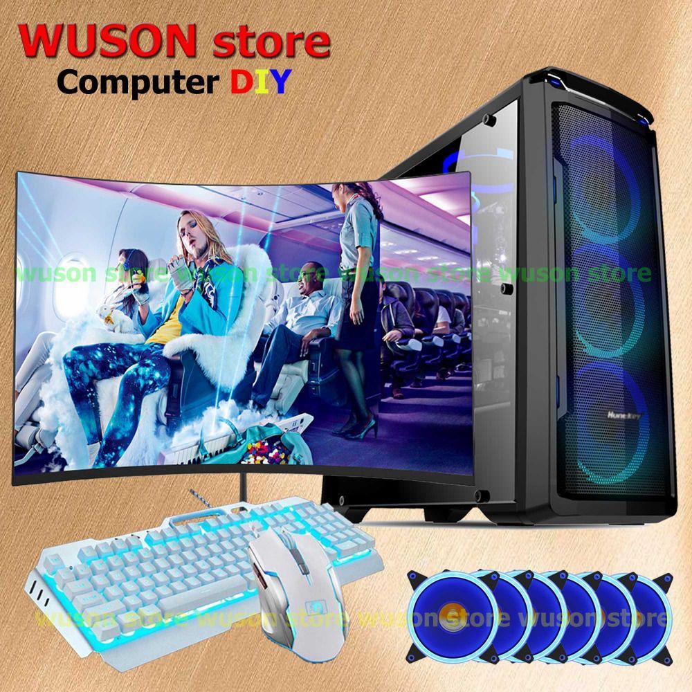 WUSON store computer DIY HUANAN X79 motherboard Xeon E5 2670 CPU 4*8G RAM LED curved screen monitor 120G SSD 500W PSU GTX1050TI