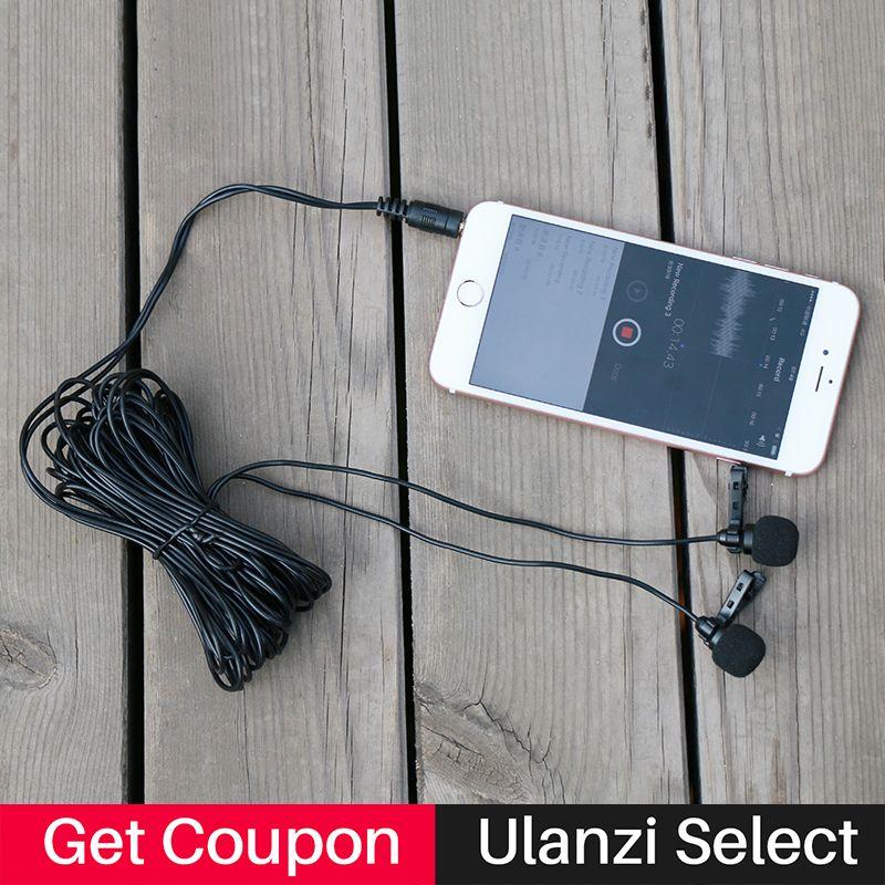 Ulanzi Arimic mains libres double tête Lavalier Microphone 6 m Mini Clip sur micro de revers pour iPhone pour entretien réunion conférences