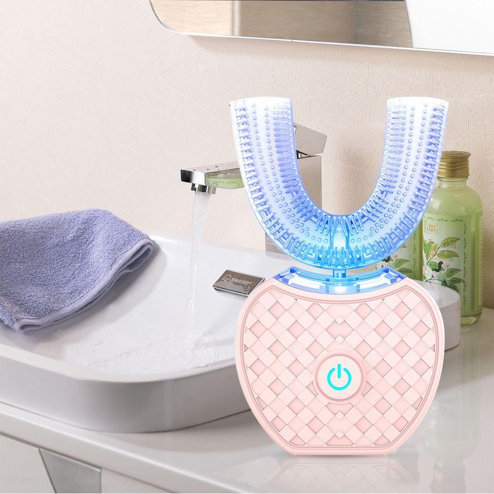 360 degrés Intelligent automatique sonique brosse à dents électronique USB Rechargeable U forme avec 4 Modes minuterie lumière bleue dentifrice