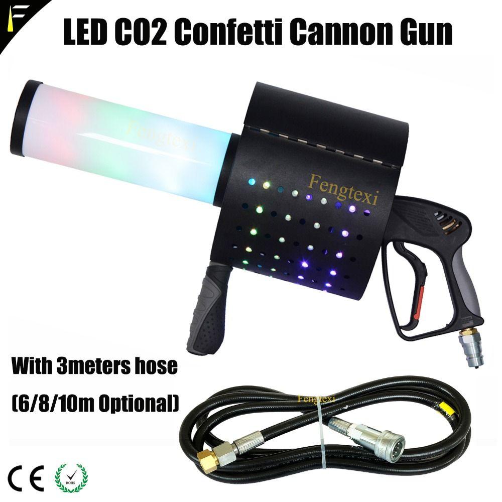 RGB Led CO2 Jet Column Handheld Gun Dry Ice Confetti Rainbow Gun Gas Spray Color Paper Special Effects Bar Nightclub DJ's Props