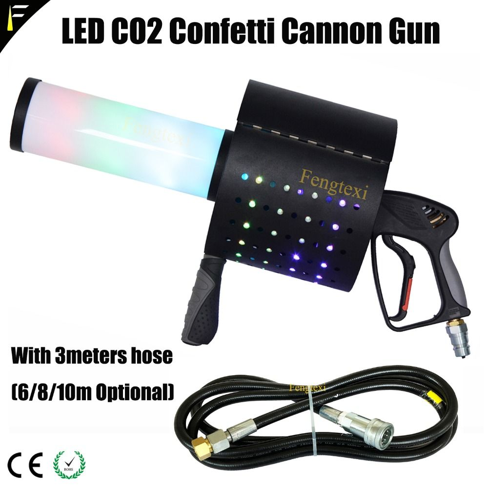 RGB Led CO2 Jet Spalte Handheld Gun Trockenen Eis Konfetti Regenbogen Gun Gas Spray Farbe Papier Spezielle Effekte Bar Nachtclub DJ der Requisiten