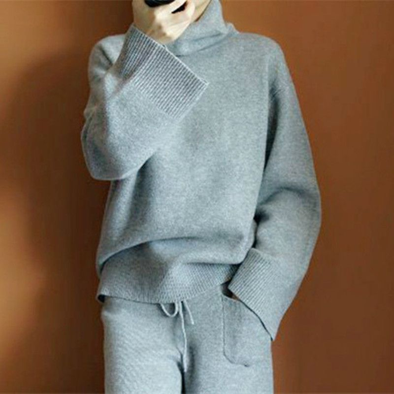 Leisure suit women's 2018 solid color cashmere sweater loose hooded turtle neck sweater trousers two-piece set matching outfits