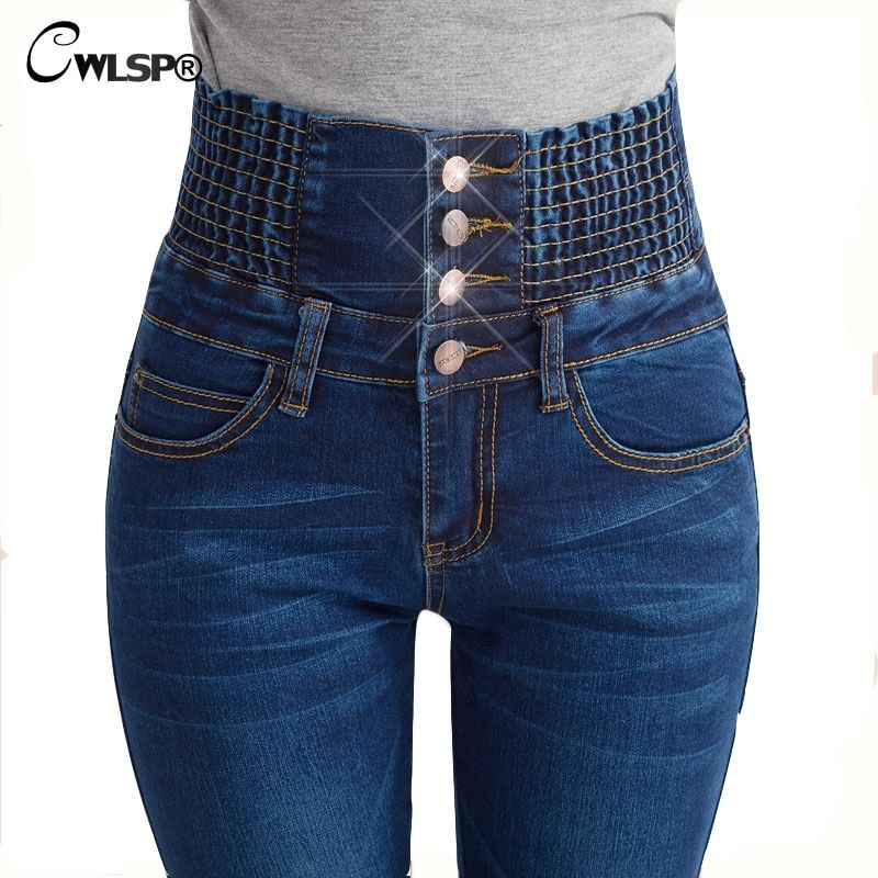 CWLSP Fashion High Waisted Jeans for women 2017 new Elastic Long Skinny Jeans Denim Pencil Pants  Slim Trousers QL1510