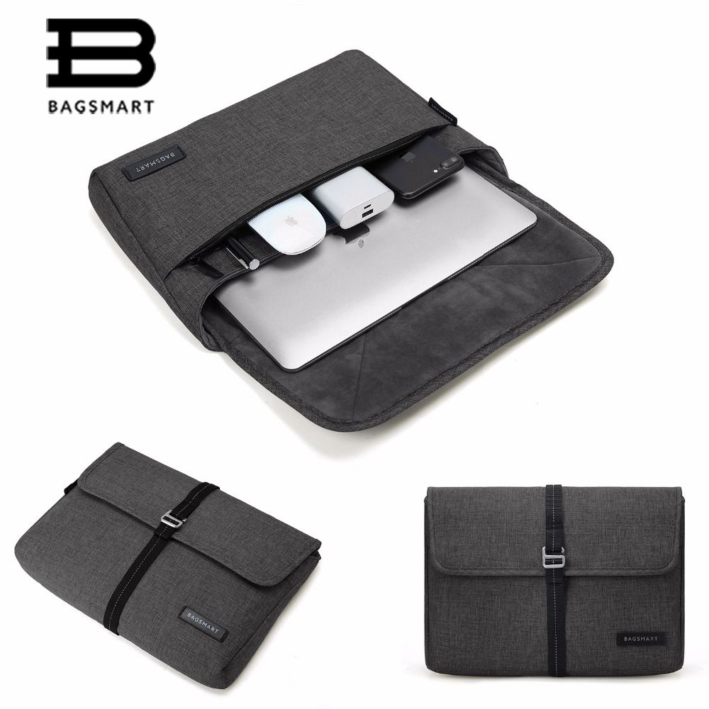 BAGSMART 13-Inch Laptop Sleeve Water Repellent Sleeve Bag Cover For ACER TOSHIBA SAMSUNG IPAD Kindle -Black
