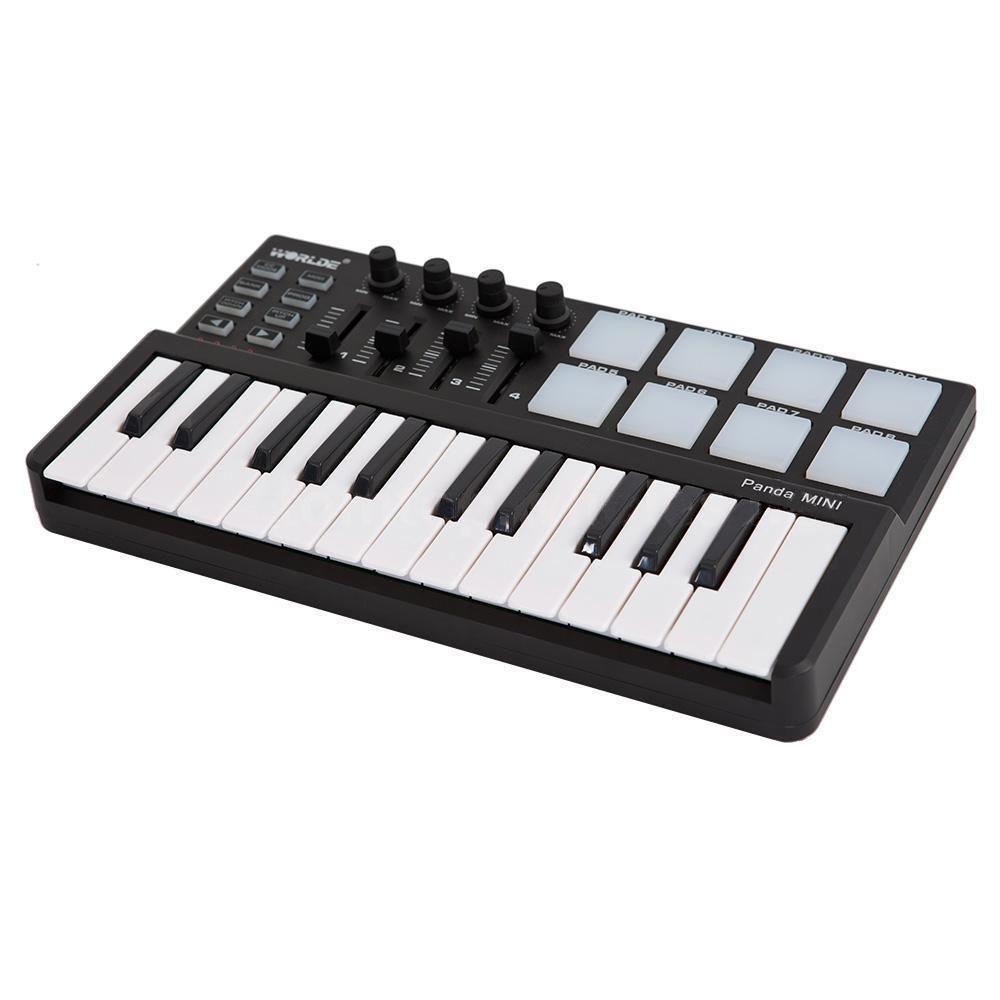 HOT Worlde Panda Portable 25-Key USB Keyboard Drum Pad MIDI Controller New JA3M