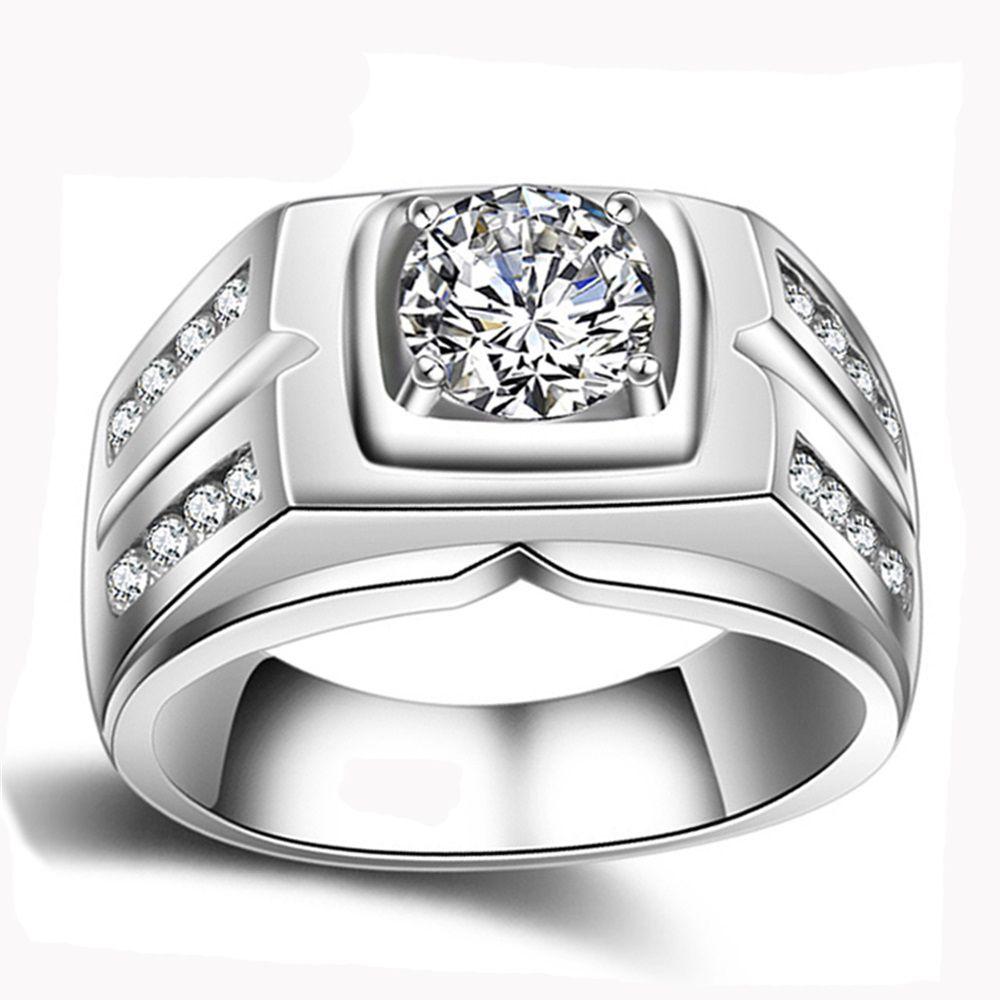 Яньхуэй оригинальный натуральный 925 Серебряные кольца для Для мужчин Сона 1 карат Diamant Обручальные кольца кубического циркония свадебные Ко...