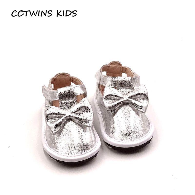 CCTWINS KIDS 2017 Kid Girl Baby Brand Mary Jane Strap Shoe Fashion Silver Dress Flat Children Genuine Leather Shoe G1513