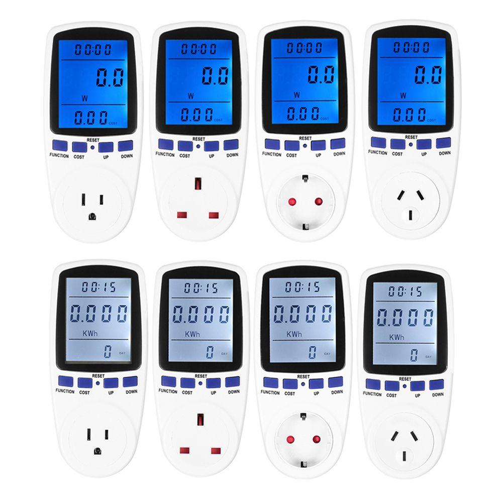 Digital Energy Meter Watt Voltage Monitor Power Monitor <font><b>Analyzer</b></font> Wattmeter Voltmeter Blue White Backlight EU/AU/US/UK Plug