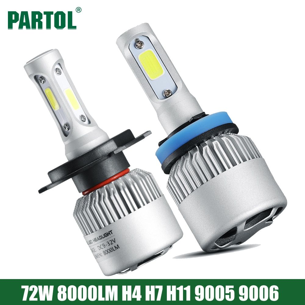 S2 Partol 72W 8000LM H4 Hi Lo Beam Car LED Headlight Bulbs H7 H11 H1 9005 9006 LED Automobile Headlamp Fog Light <font><b>6500K</b></font> 12V 24V