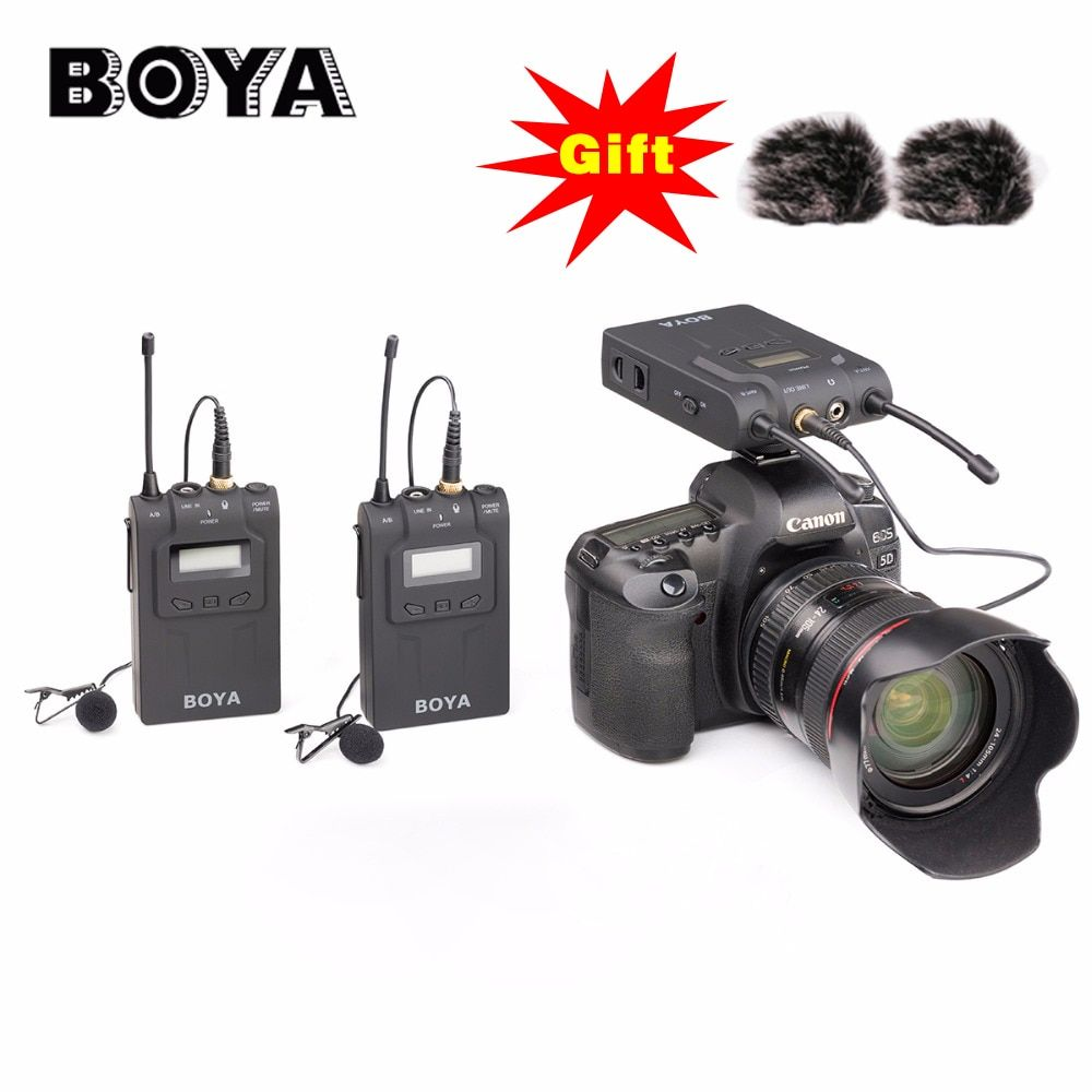 BOYA BY-WM8 UHF Dual Wireless Lavalier Microphone Systerm Lav Interview Mic 2 Transmitters & 1 Receiver for DSLR Video Camera