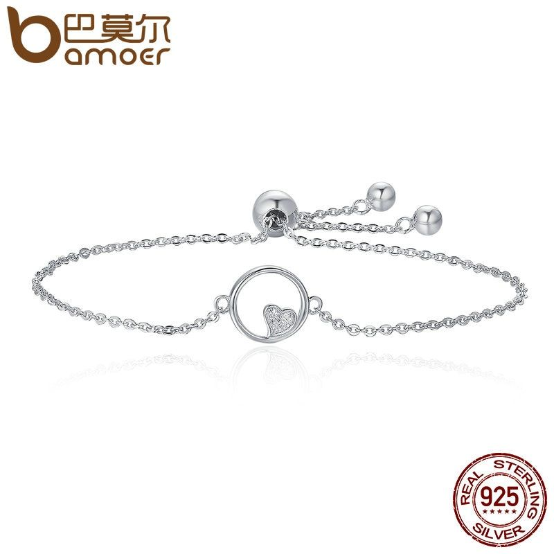 BAMOER Genuine 925 Sterling Silver Sweetheart Heart In Circle Chain Bracelets For Women Luxury Authentic Silver Jewelry SCB020