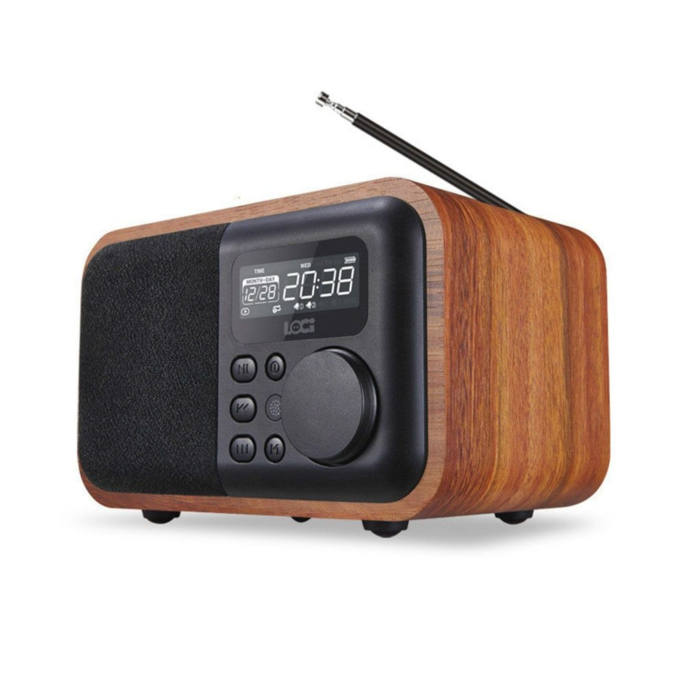 wireless Wooden Bluetooth portable Speaker Alarm U disk Card small Speaker Subwoofer Retro music Radio