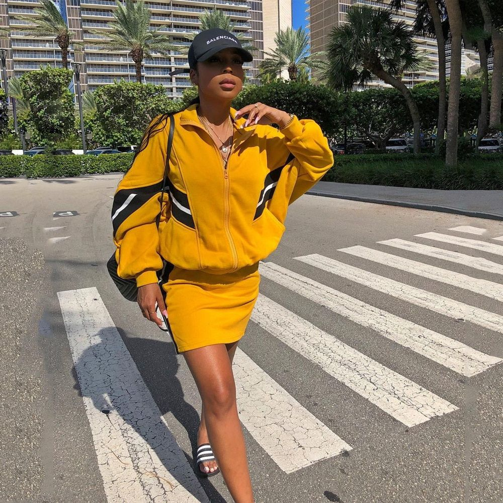 Long Sleeve Patchwork Tracksuit Jacket and Mini Skirt Two Pieces Sets Women Cropped Top OutWear Slim Bodycon Skirt Streetwear