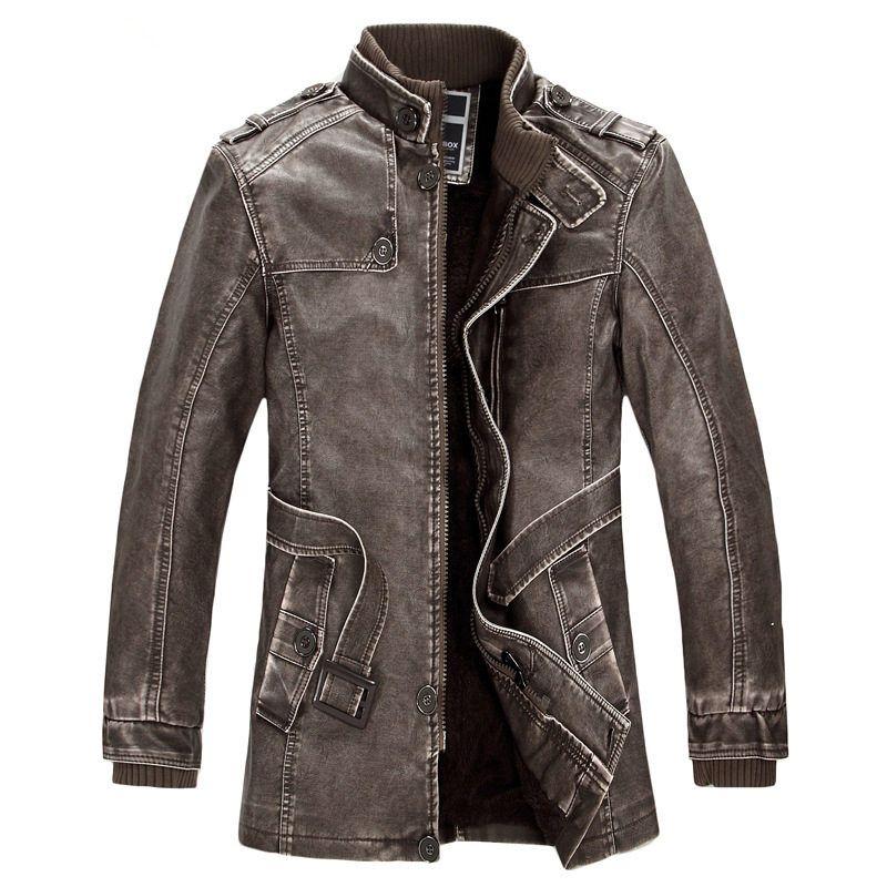 Hombres del invierno del soporte del collar cinturón SLIM-tipo largo pu cuero punk estilo con terciopelo más tamaño hombres gruesa capa caliente WE155
