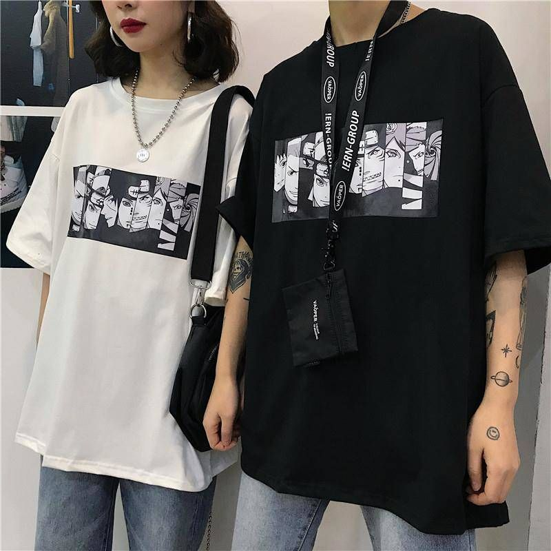 Cool Harajuku Naruto Tshirt Streetwear Men Summer Fashion Amine T-shirt Casual Cartoon Print male tops Funny Japan T Shirt Boys