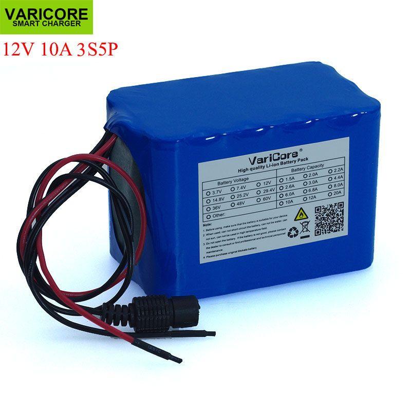 VariCore 100% Nouvelle Protection Grande capacité 12 v 10Ah 18650 au lithium Rechargeable batterie pack 12 v 10000 mah capacité avec BMS