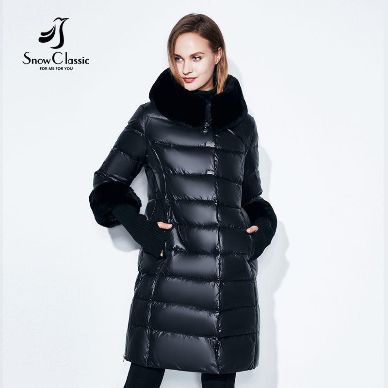 Snowclassic Winter Women Coat Jacket Padded Hooded Coats Three Quarter Warm Jackets Fur Collar Zipper Solid High Quality New