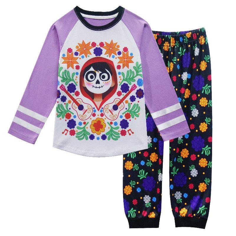 Осень 2017 г. пижамы для девочек с длинным рукавом Симпатичные Русалка PJs Одежда для малышей Детские футболки комплект пижамы ночное белье Ноч...