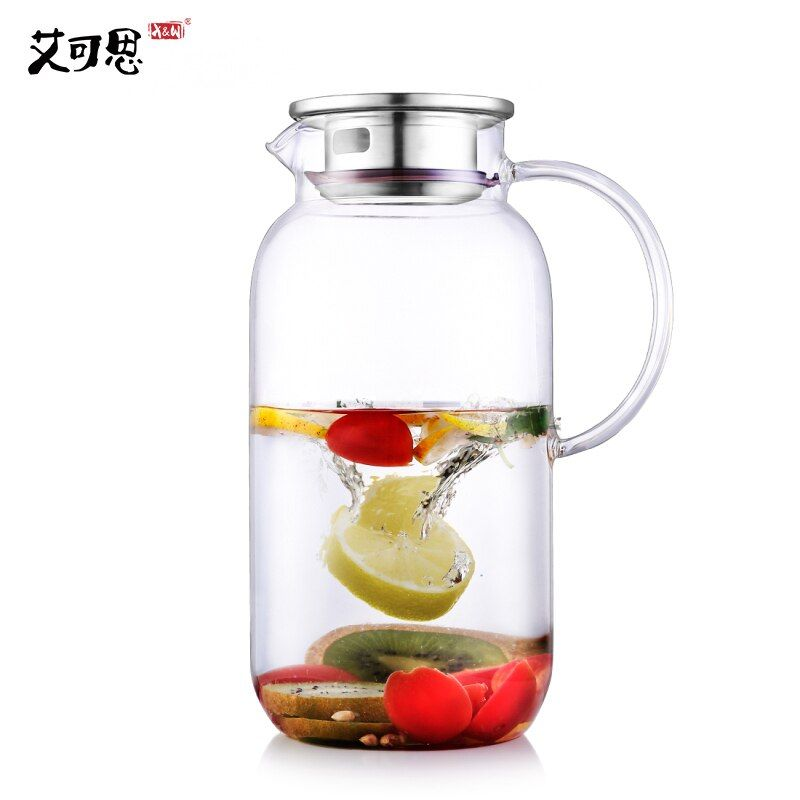 X&W 2500ml Water Kettle Transparent Borosilicat Glass Water Jug Heat Resistance Juice Container With Lid Filter Cold Drinkware