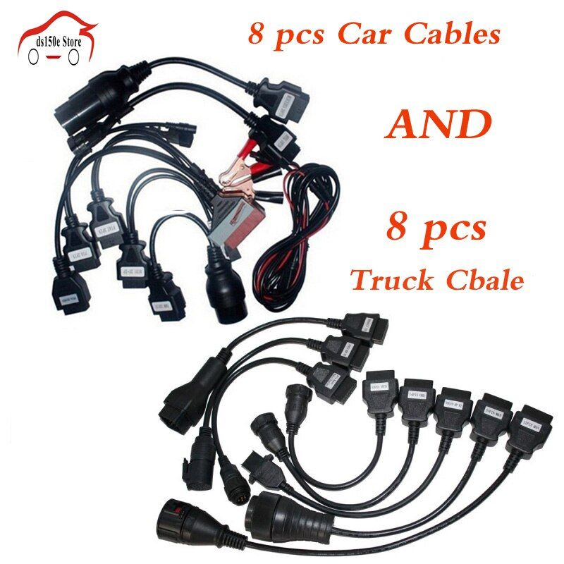 VD DS150E CDP 8pcs Full Set Car Cables + 8pcs Truck Cables for tcs cdp pro plus/MVD/WOW/Kess Auto Cable for delphis for autocoms