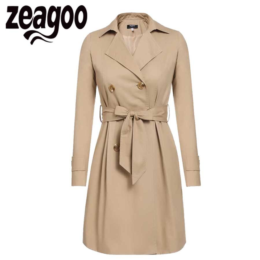2017 Women Trench Coat Casual Turn-down Collar Long Sleeve Spring Autumn Long Coat Double Breasted Windbreaker Coat 2 Color