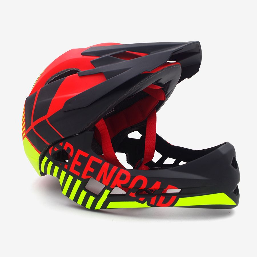 Rot kinder Erwachsene radfahren helm fullface OFF-ROAD DH berg mtb Bike Helm mann visier kinder volle gesicht downhill fahrrad helm