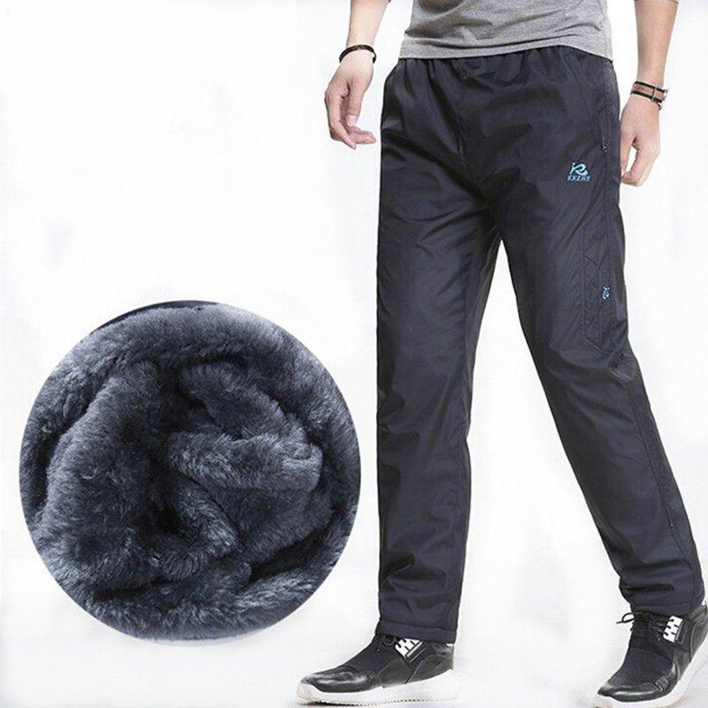 3XL Super warm Winter Fleece Thicken Men's casual Pants Heavyweight Men's Trousers Winter Waterproof Slim Fitted Sweatpants