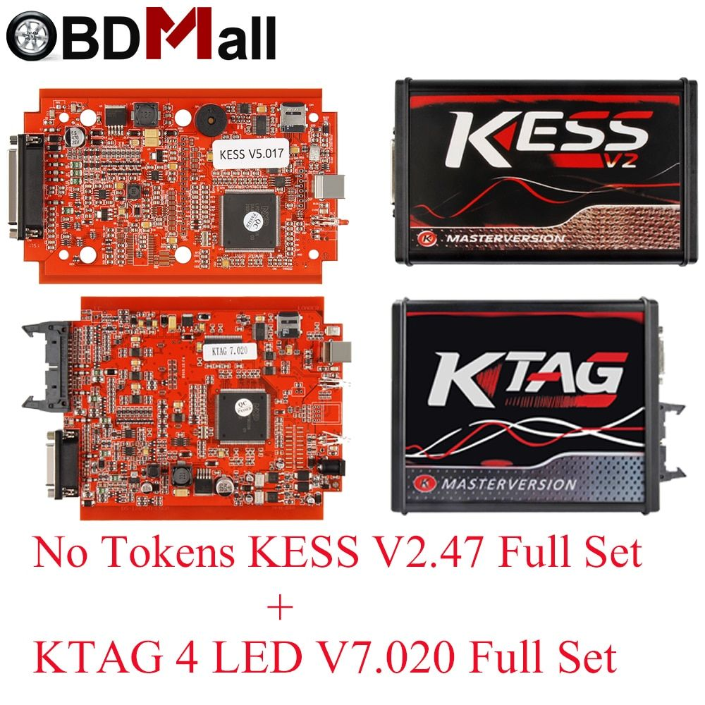 KESSV2 KESS V2 V5.017 EU Red V2.47/V2.23 ECM Titanium KTAG V7.020 4 LED Online Master Version ECU OBD2 car truck Programmer tool