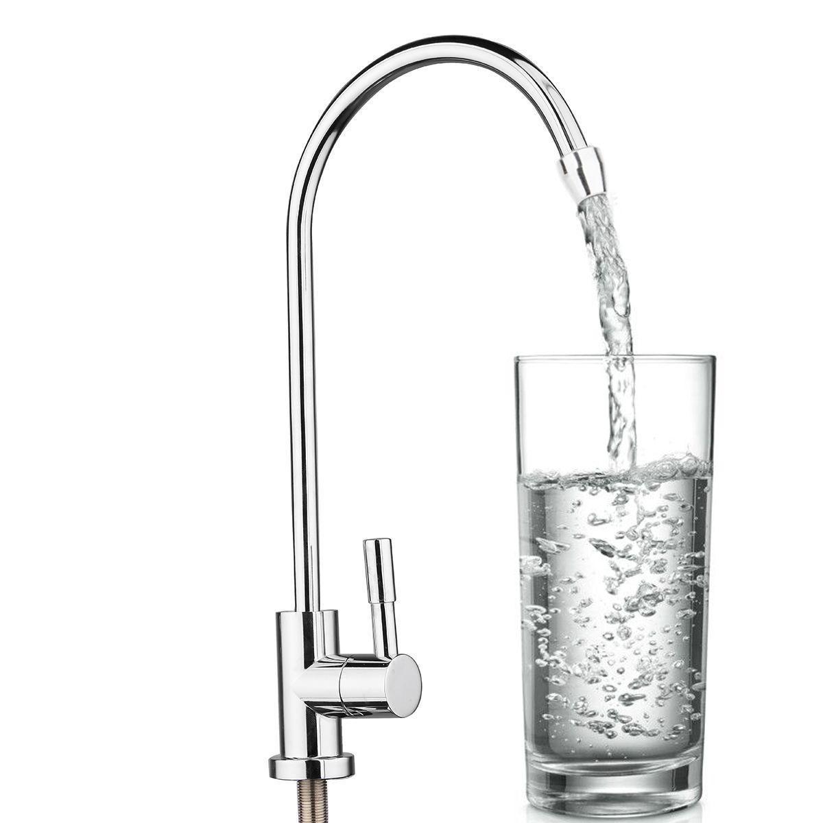 1 stück 304 Edelstahl Wasserfilter Wasserhahn 1/4 360 Grad Chrom Osmose Trinkwasser RO Finish Reverse Waschbecken Armaturen