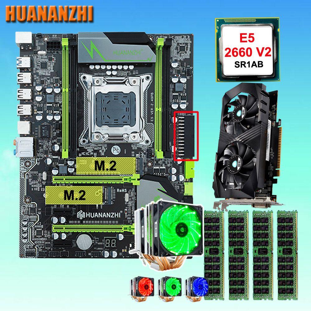 HUANANZHI X79 Pro motherboard mit DUAL M.2 NVMe slot CPU Xeon E5 2660 V2 6 rohre kühler RAM 32G (4*8G) GTX1050Ti 4G video karte