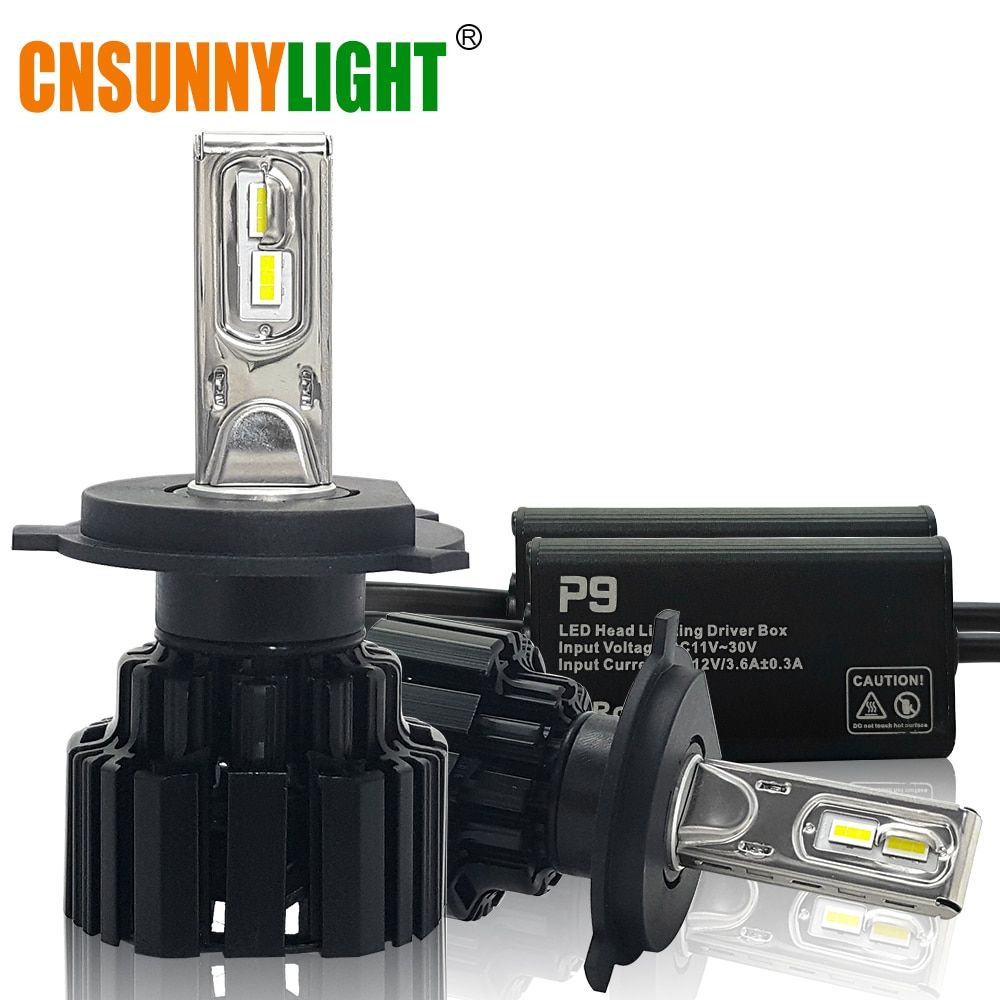 CNSUNNYLIGHT Super Bright LED Car Headlight H7 H11/H8 9005/HB3 9006/HB4 9012 D1/D2/D3/D4 H4 H13 45W 6800Lm/Bulb 6000K Pure White