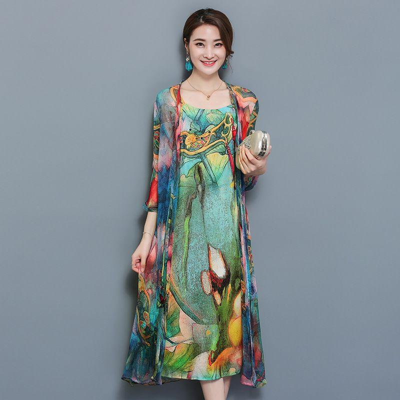 Large Size 3XL 4XL Women 2 Piece Set Women Autumn Natioanl Print Sling Dress + Open Stitch Cardigan Suit Elegant Chiffon Vestido
