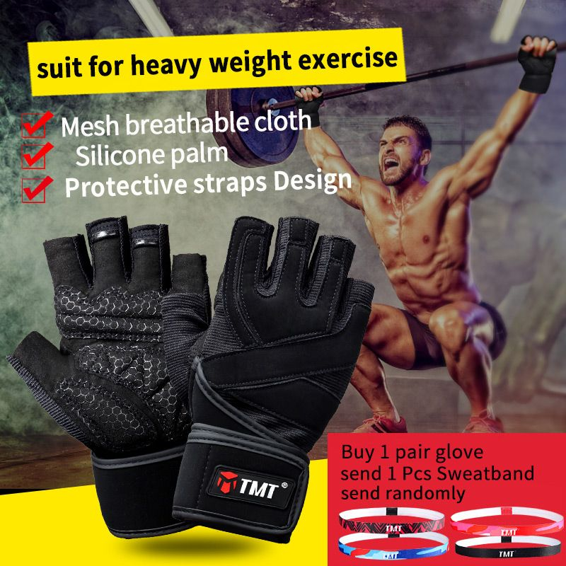 TMT gym <font><b>weight</b></font> lifting Gloves Dumbbell Weightlifting Fitness Exercise Non-Slip Breathable Half Finger sports Training Gloves