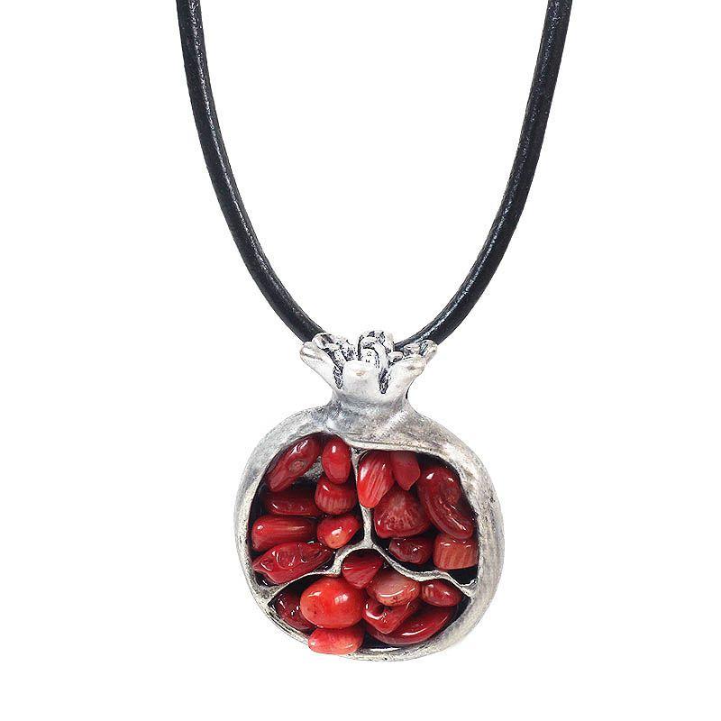 Этнический сплав восточный шарм граната камень кулон цепочки и ожерелья Женский, черный кожаный этническое ожерелье модные украшения