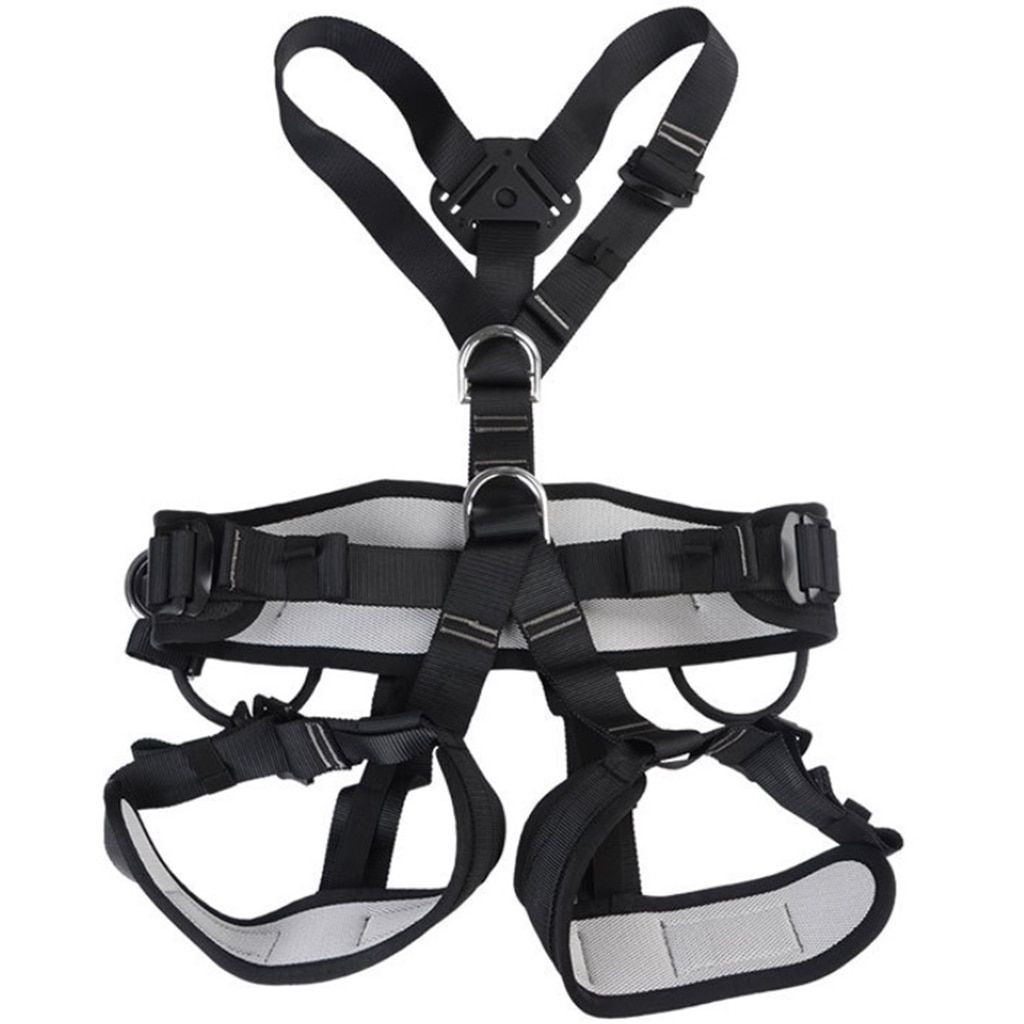 Outdoor Rock Tree Climbing Rappelling Full Body Safety Belt Harness Black for Camping Hiking Carving Equipment Climbing Acces