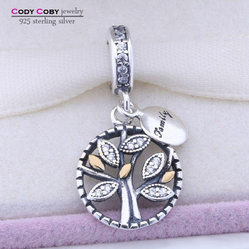 Original 925 Family Tree Crystal Encanta Granos Adapta Pandora Pulsera Colgante Auténtico berloque Joyas pingente