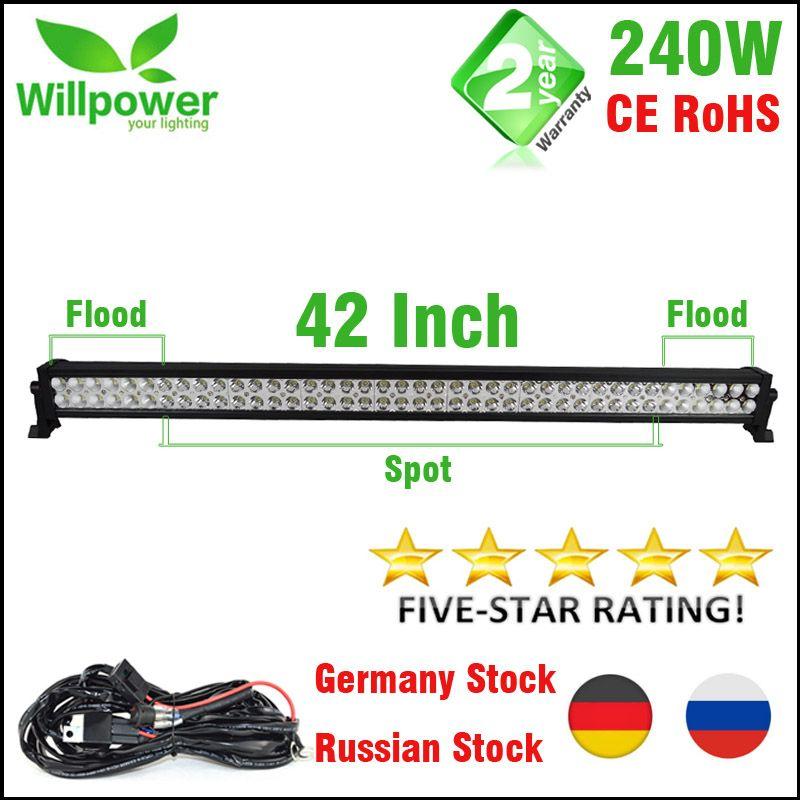FREE shipping 4x4 combo beam 24000lms 42 inch 240w 4x4 car driving lights wiring kit 12v offroad led light bar work light