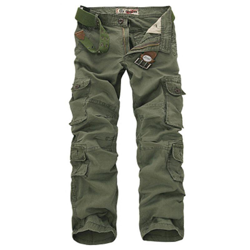 Mode militaire Cargo pantalon hommes lâche Baggy tactique pantalon Oustdoor décontracté coton Cargo pantalon hommes Multi poches grande taille