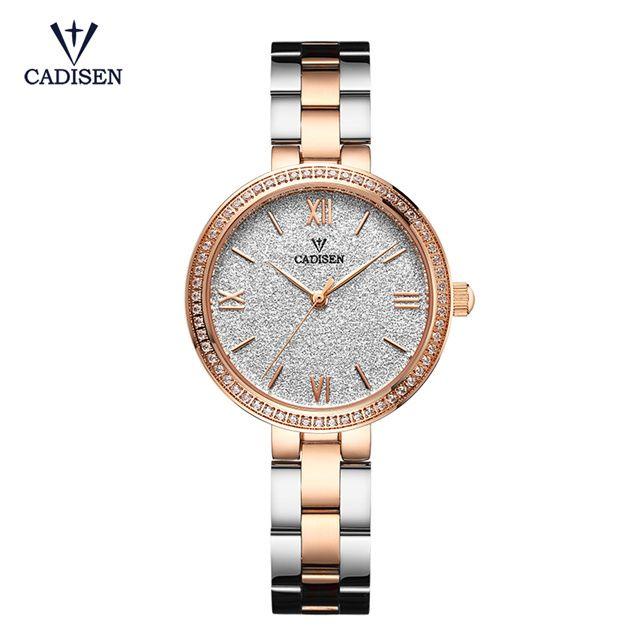 Женские часы cadisen Фирменная Новинка Женева Для женщин кварцевые часы наручные Часы платье женские часы-браслет Relogio feminino