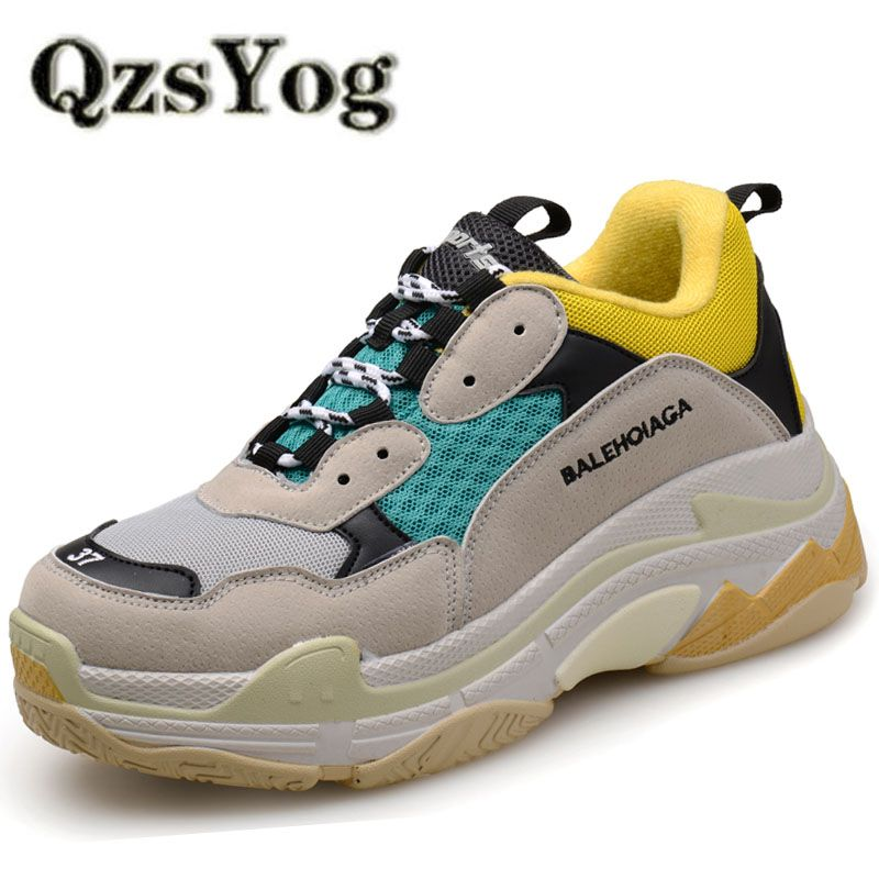 QzsYog Big Size 36-46 Couple Sport Running Shoes Air Mesh Breathable Outdoor Cushion Sneakers Athletic Men Jogging Shoes Women
