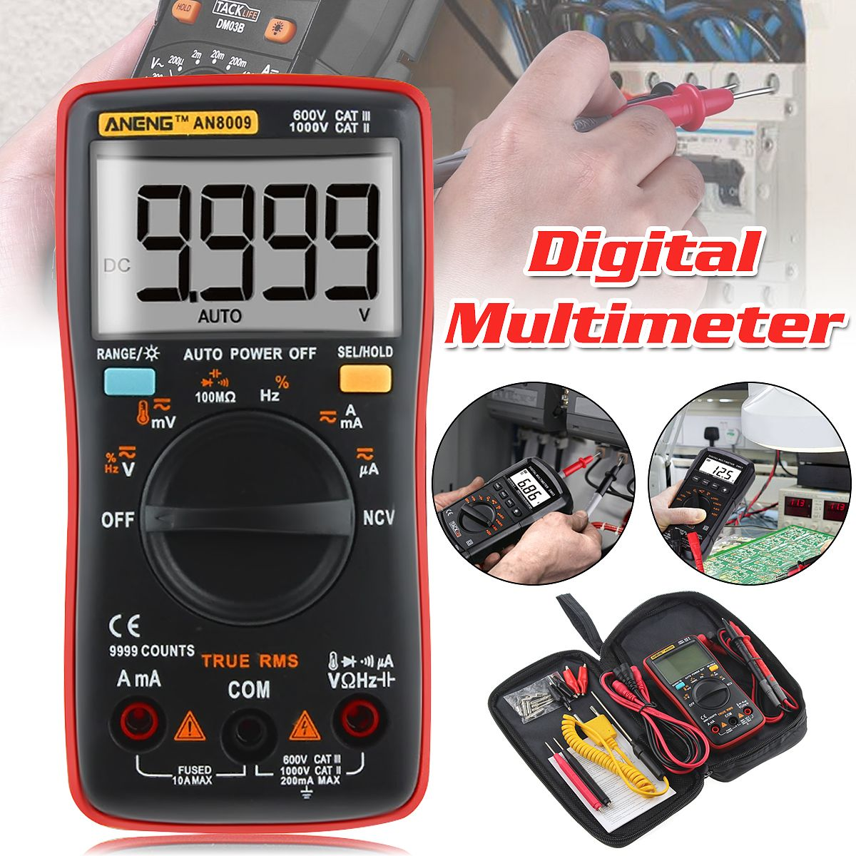 ANENG AN8009 Digital Multimeter True RMS NCV Backlight Ammeter Voltmeter Auto Range 9999 Counts AC/DC Current