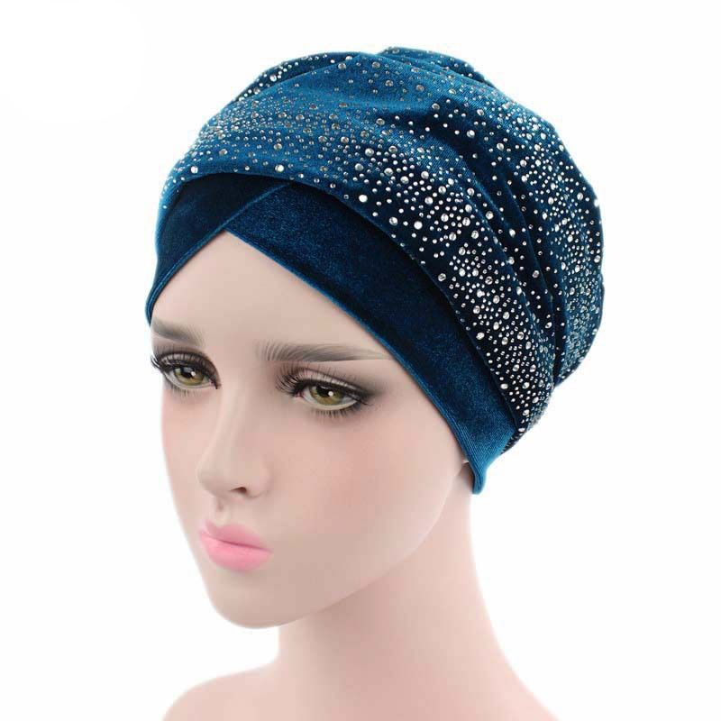 Turban Headband Diamante Studded Extra Long Velvet Turban Head Wraps Hijab Head Scarf Turbante New Luxury Women Velvet