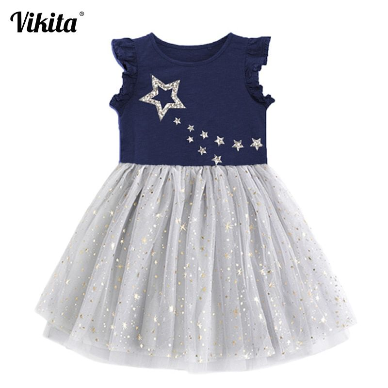 VIKITA Girls Princess Dress Kids Unicorn Dresses for Girls Children Sequins Dresses Toddlers Tutu Dress Girl Summer Vestidos