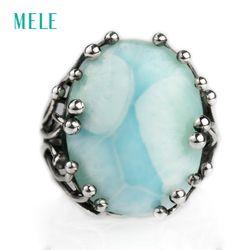 Naturel larimar argent anneau, ovale 15mm * 20mm, bleu pierre et conception spéciale, les hommes et les femmes, aitistic et exquis
