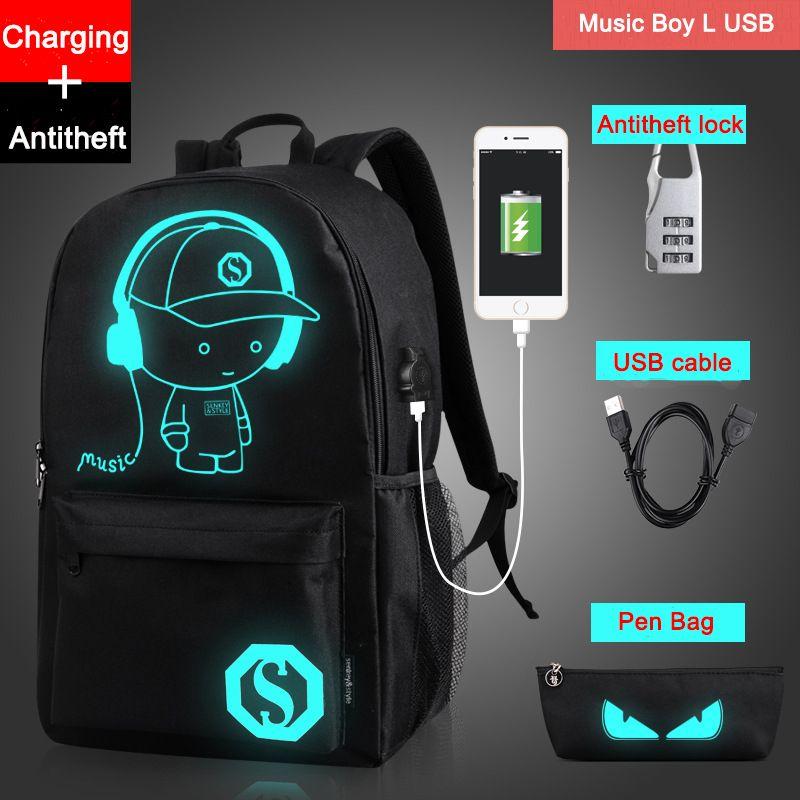 Livraison directe Noctilucent Cartoon adolescent sac à dos sacs d'école pour garçon nuit éclairage sacs avec USB gratuit + stylo sac + antivol serrure